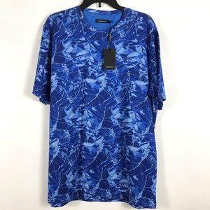 Bugatachi Cotton Jersey Blue Print T-shirt XL NWT